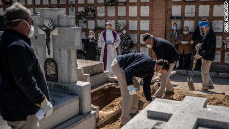 Un sacerdote e parenti pregano mentre una vittima viene sepolta nel cimitero il 28 marzo.