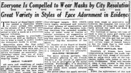 Un articolo della Cronaca di San Francisco del 25 ottobre 1918.