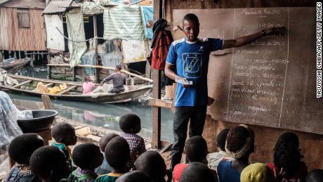 Una sessione di lezione in una scuola privata a Makoko il 1 marzo 2019.