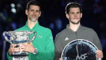 Djokovic (a sinistra) ha battuto Thiem in cinque set dopo aver perso 2-1 contro l'austriaco in finale.
