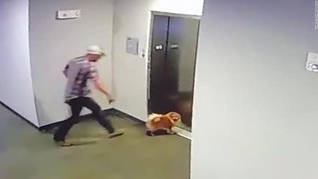 Il video mostra l'uomo che salva il cane del vicino dopo che il guinzaglio si è bloccato nelle porte dell'ascensore