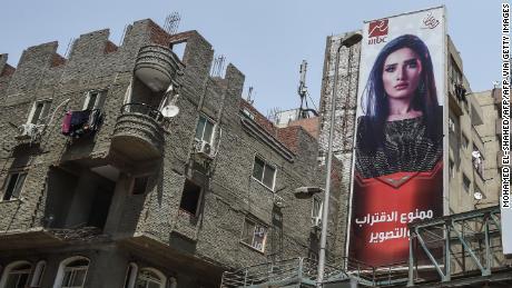 Cartelloni pubblicitari per una serie TV Ramadan al Cairo nel 2018.