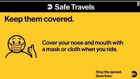 L'MTA di New York vuole che i piloti mantengano la bocca e il naso coperti.
