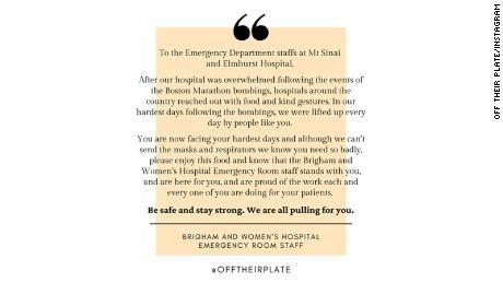 Il personale di emergenza di Brigham and Women s includeva una nota di sostegno con la loro donazione di cibo agli ospedali di New York.