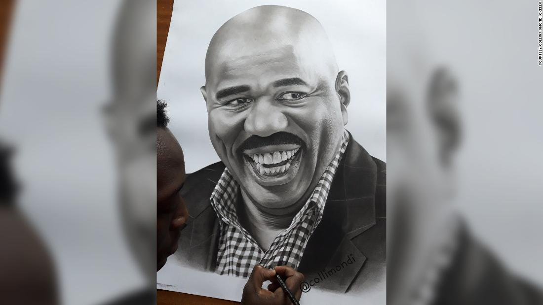 Il comico americano Steve Harvey dà una spinta all'artista keniota dopo un disegno virale