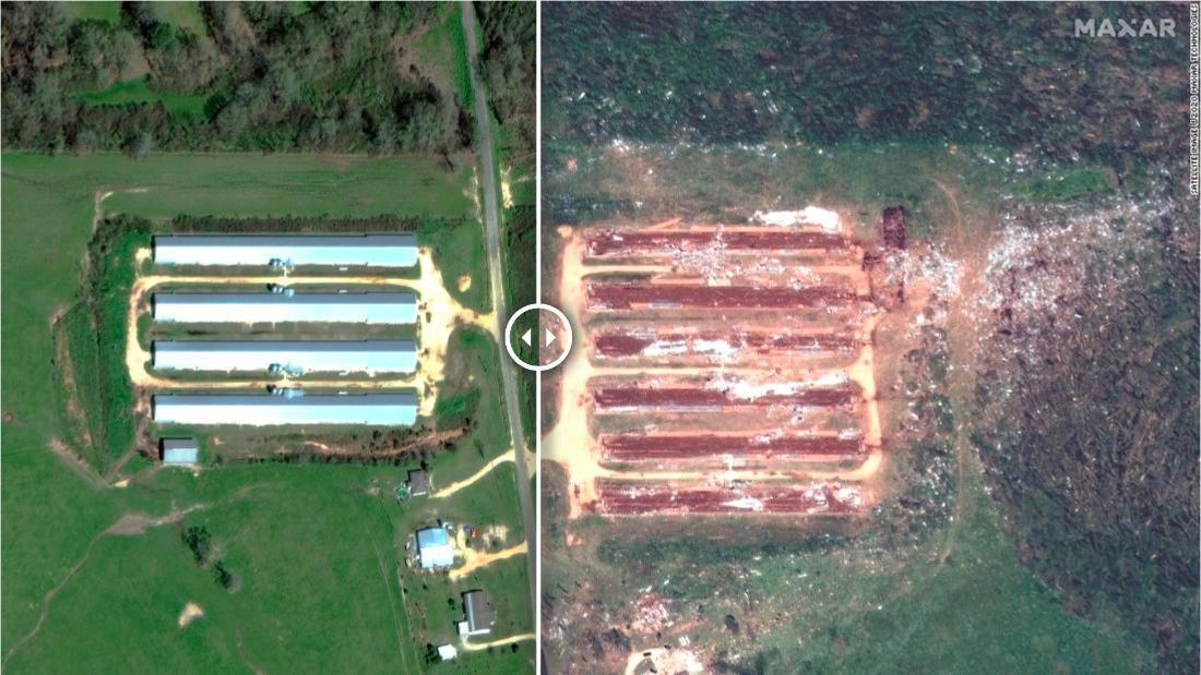 Le immagini prima e dopo lo spazio mostrano danni da tornado