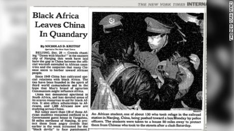 Copertura nel New York Times dell'incidente di Nanchino nel 1988.