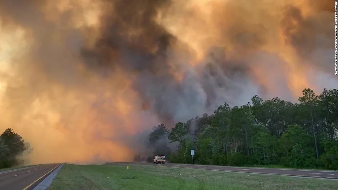 Temperature record e tempo asciutto hanno scatenato più di una dozzina di incendi boschivi in Florida