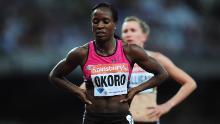 Okoro partecipa agli 800 metri femminili nel primo giorno dei Sainsbury's Birthday Games - IAAF Diamond League 2013 al Queen Elizabeth Olympic Park il 26 luglio 2013 a Londra.