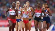 Okoro, Jenny Meadows of England ed Eunice Jepkoech Sum of Kenya competono nella semifinale femminile di 800 m a Hampden Park l'ottavo giorno dei Glasgow Commonwealth Games 2014 il 31 luglio 2014 a Glasgow.