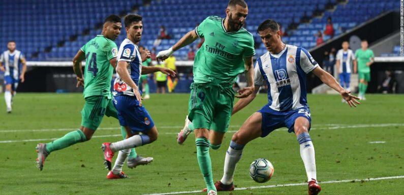 """L'assistenza """" magica """" di Karim Benzema offre al Real Madrid il vantaggio sul Barcellona nella corsa al titolo della Liga"""