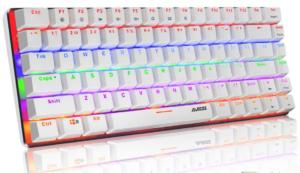 Tastiera meccanica, Tastiera meccanica per giochi con cavo USB retroilluminata a LED Rainbow AK33, tastiera da gioco meccanica compatta a 82 tasti con tasti anti-ghosting (Interruttore Blu, Bianco)