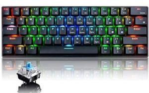Urchoiceltd RGB Tastiera meccanica, tastiera Bluetooth cablata / wireless RK61 61 tasti Tastiera da gioco impermeabile retroilluminata a LED Anti-ghosting (interruttore nero / blu)