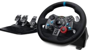 Logitech G29 Driving Force Racing Wheel Volante da Corsa con Pedali Regolabili, Ritorno di Forza Reale, Comandi Cambio in Acciaio Inossidabile, Volante in Pelle, Spina GB, PS4/PS3/PC/Mac, Nero