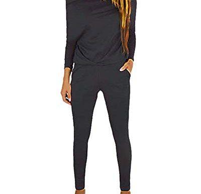 Akalnny Tuta Sportive da Donna 2 Pezzi Giacche a Maniche Lunghe con Cerniera e Pantaloni a Vita Alta Tute Ginnastica per Palestra Jogging Yoga Fitness S-XXL